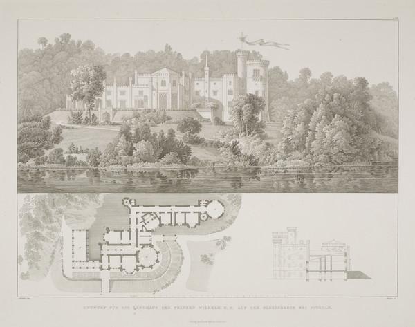Perspective view; Plan; Section  (Plate 136 of  'Schlo? Babelsberg' from Sammlung Architektonischer Entwürfe) (1832-1835)