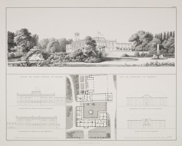 Perspective view; Elevations; Plan (Plate 137 of  'Schlo? Glienicke' from Sammlung Architektonischer Entwürfe) (1824-1829)