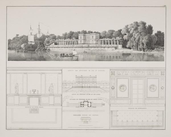 Casino Perspective view; Elevation; Plan; Interior details (Plate 138 of  'Schlo? Glienicke' from Sammlung Architektonischer Entwürfe) (1824-1829)