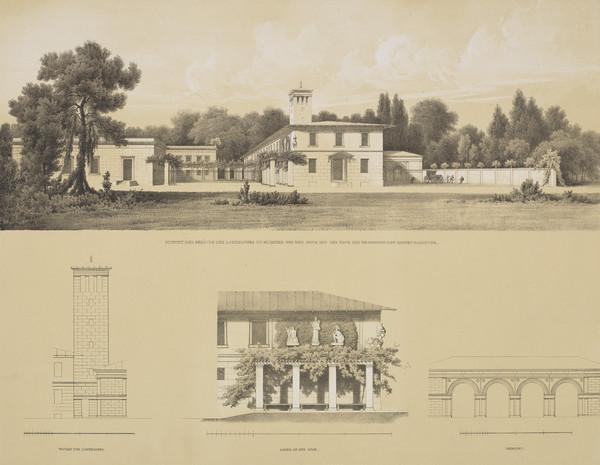 Perspective view; Elevation details (Plate 139 of  'Schlo? Glienicke' from Sammlung Architektonischer Entwürfe) (1824-1829)