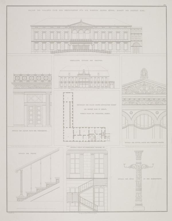Elevations; Plan; Exterior and interior details (Plate 140 of  'Prince Karl Palais' from Sammlung Architektonischer Entwürfe (1827-1828)