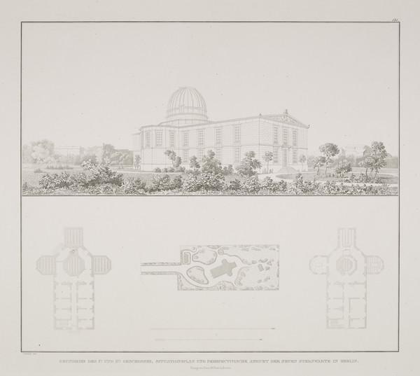 Perspective view; Plans (Plate 141 of  'Observatory' from Sammlung Architektonischer Entwürfe (1832-35)