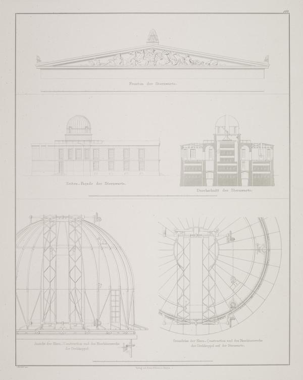Elevation; Section; Details (Plate 142 of  'Observatory' from Sammlung Architektonischer Entwürfe (1832-35)