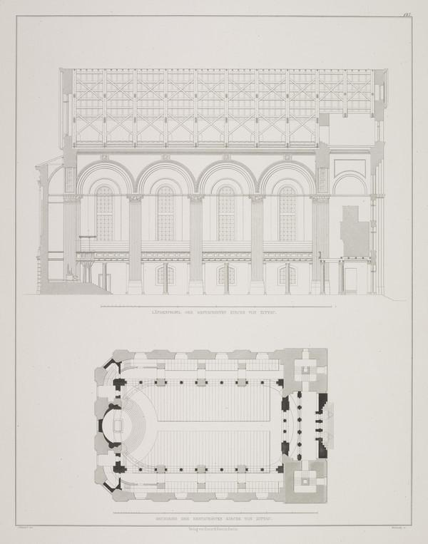 Section; Plan (Plate 143 of  'St. Johannes Church' from Sammlung Architektonischer Entwürfe (1834-1835)