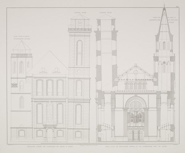 Elevations; Section (Plate 145 of  'St. Johannes Church' from Sammlung Architektonischer Entwürfe (1834-1835)