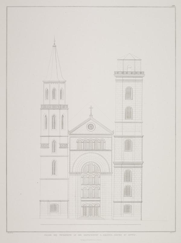 Elevation (Plate 146 of  'St. Johannes Church' from Sammlung Architektonischer Entwürfe (1834-1835)