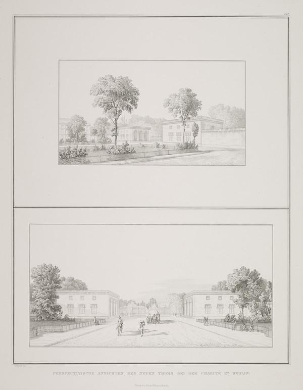 Perspective views (Plate 147 of  'New City Gate' from Sammlung Architektonischer Entwürfe (1830-1836)