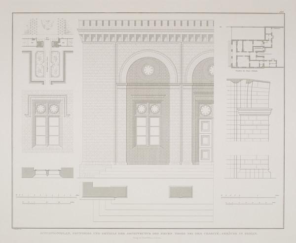 Plans; Elevational details (Plate 148 of  'New City Gate' from Sammlung Architektonischer Entwürfe (1830-1836)