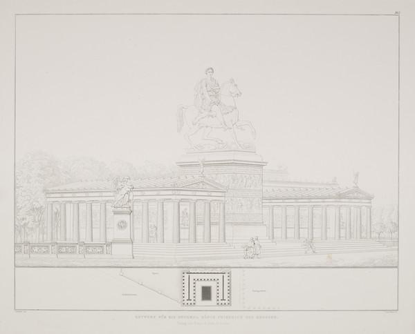 Perspective view; Plan (Plate 165 of  'Monument for Friedrich the Great' from Sammlung Architektonischer Entwürfe
