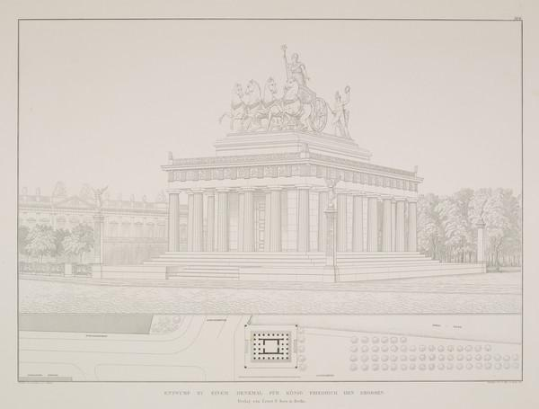 Perspective view; Plan (Plate 166 of  'Monument for Friedrich the Great' from Sammlung Architektonischer Entwürfe