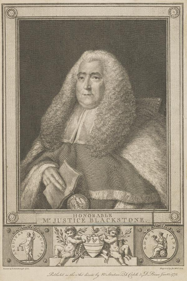 """Honourable Sir William Blackstone, 1723 - 1780. Judge: Author of """"Commentaries"""" (duplicate) (Published 1773)"""