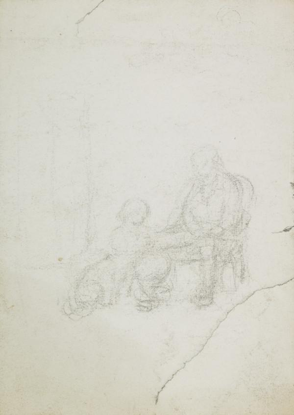 Double-sided Sheet with Studies of a Seated Figure with Small Child in an Interior