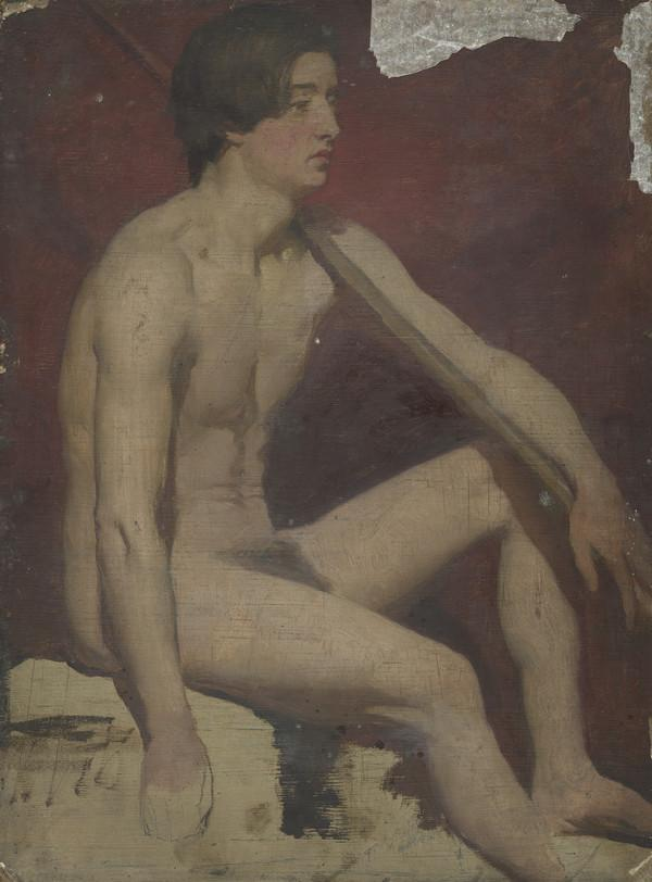 Life Study of a Seated Male Nude Holding a Staff (1850s)