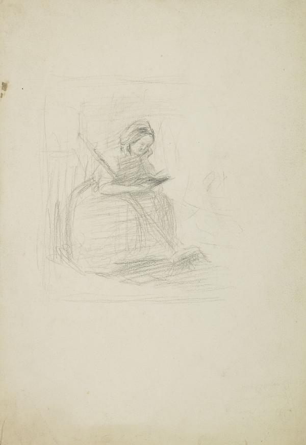 Study of a Seated Woman with a Broom, Reading a Book