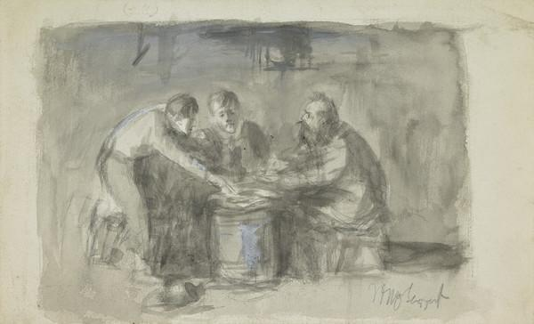 """Three Men Seated Round a Barrel. Possibly a Study for an Illustration to """"Guy Mannering"""""""