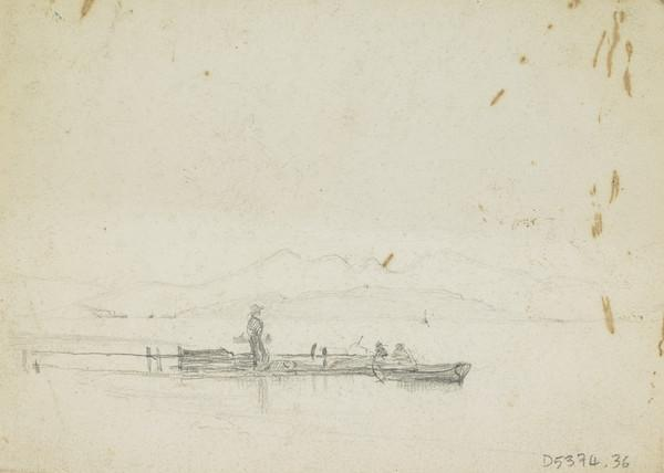 """Double-sided Sheet. Sketch of Figures in a Boat (recto); Section of a Compositional Study for """"Spring"""""""