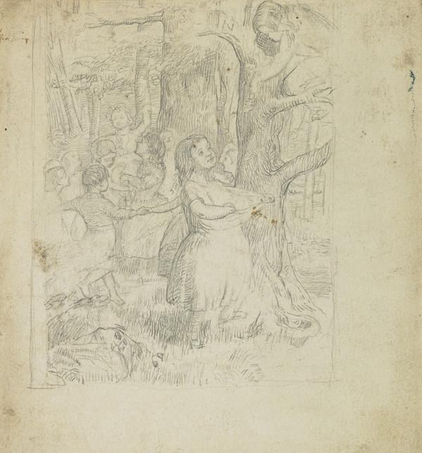 Compositional Study of Children Gathering Acorns and Dancing in a Wood