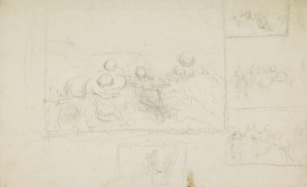 Compositional Sketches of a Group of Children beside the Seashore