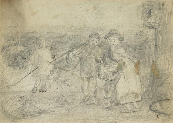 """Study for """"A Day's Fishing - Evening"""" (About 1865)"""