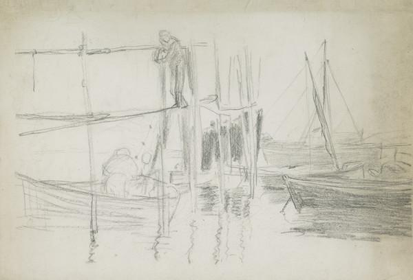 Sketch of Skiffs in a Harbour with a Figure Hanging out Nets to Dry