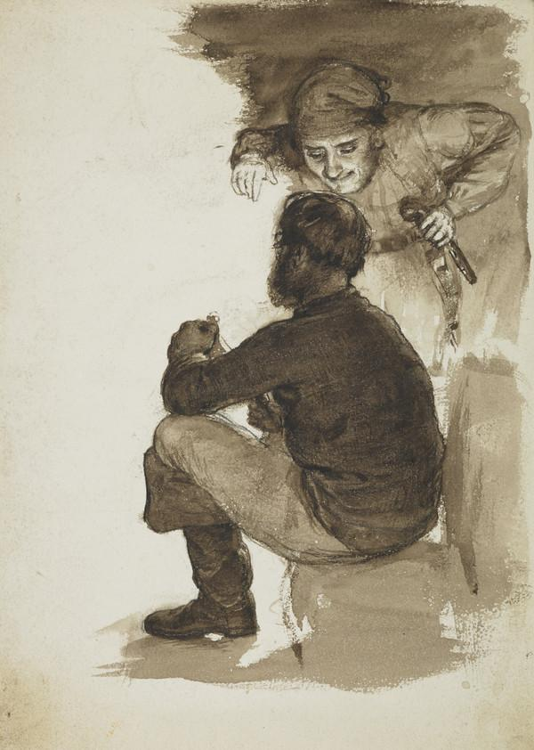 """Study for Two Figures for McTaggart's Illustration """"Harry Bertram in the Kaim of Dencleugh"""""""
