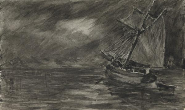 Sailing Boat on a Stormy Sea