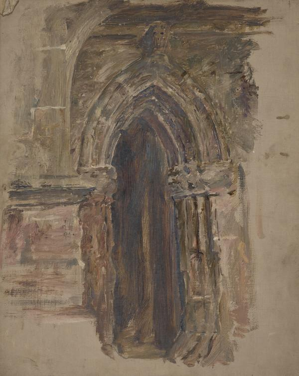 Sketch of a church door (Probably about 1860)