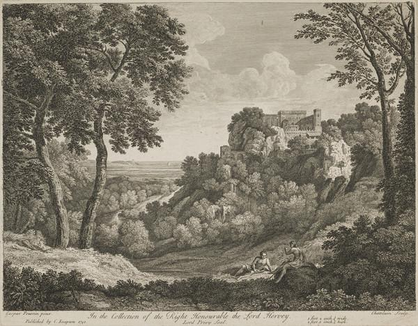 Landscape with two figures conversing in the foreground; buildings on a rocky cliff and stretch of water in the distance (1741)