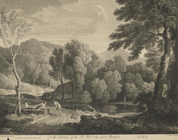 Landscape with figures by a lake (1746)