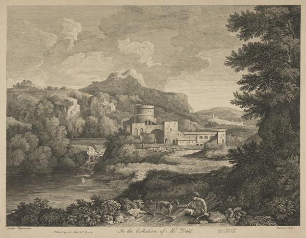 Landscape with man feeding a dog (1742)