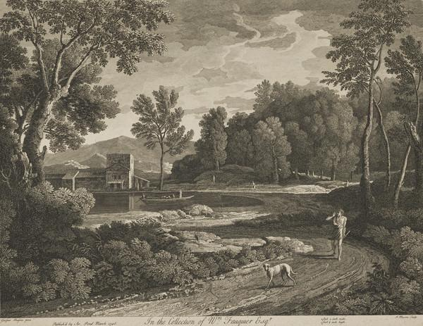 Landscape with dog and a man walking on a path (1746)
