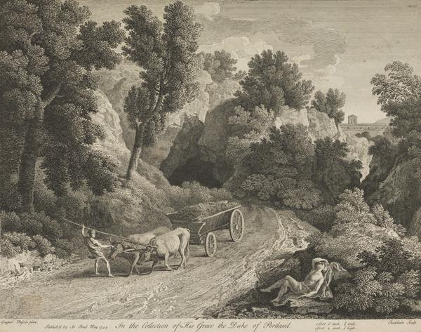 Landscape with peasant leading an ox-drawn cart and a sleeping figure on the right (1744)