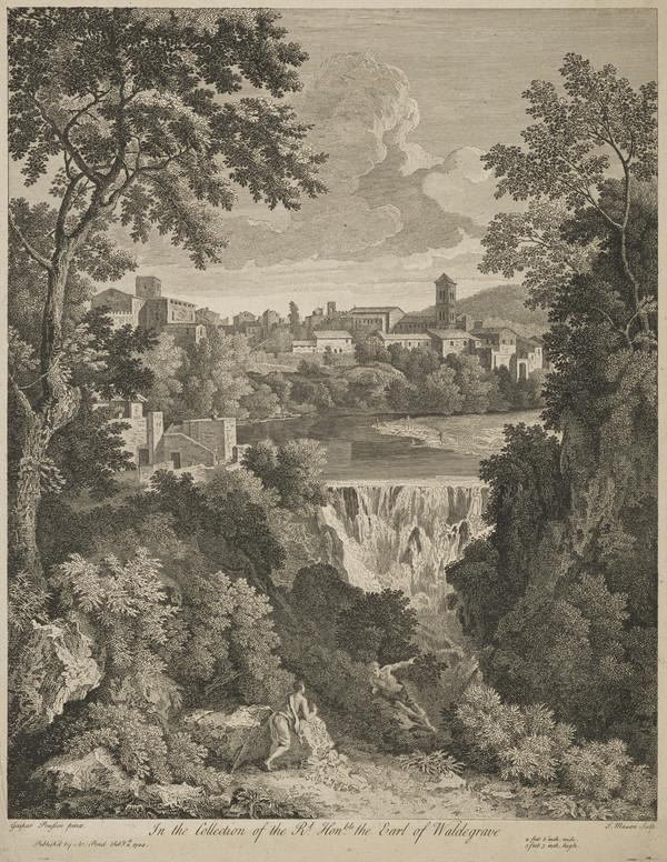 Landscape with two figures conversing in the foreground, a waterfall and the city of Tivoli in the distance (1744)