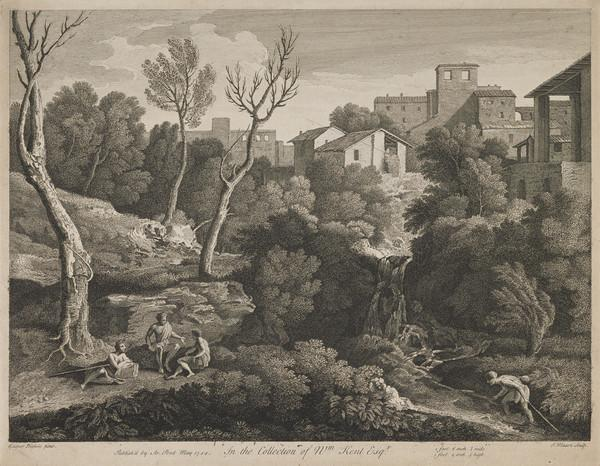 Landscape with a group of three figures conversing on the left and a figure walking in a stream (1744)