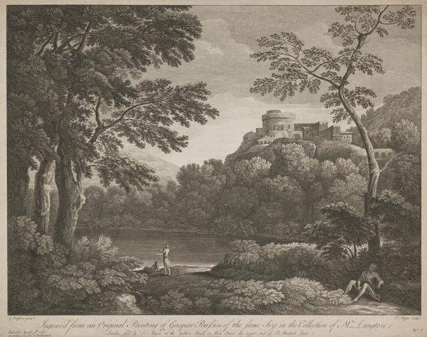 Landscape with a lake and circular building on top of a hill; figures resting in the foreground (1750)