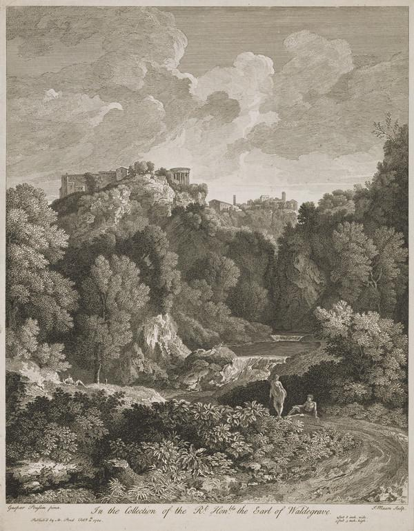 Landscape with 2 figures resting in the foreground, a waterfall and buildings on the top of a cliff, including the Temple of Sibyl in Tivoli (1744)