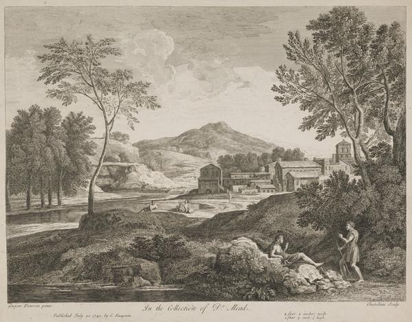 Landscape with a man leaning on a staff and addressing another man seated on a rock (1741)