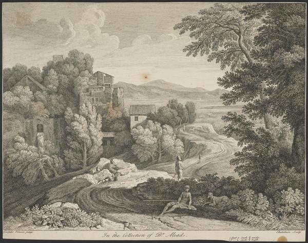 Landscape with a dog and a man resting on the roadside