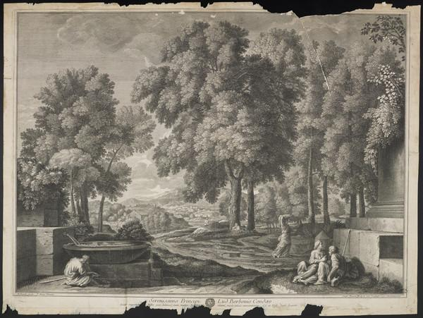 Landscape with a man washing his feet on the left, a woman carrying a laundry basket and a seated couple on the right; city in the background (1684)