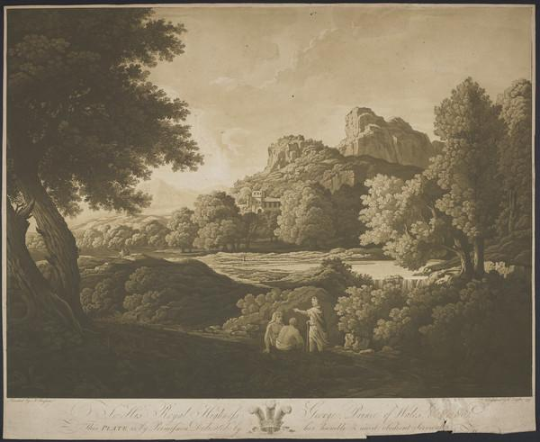 Landscape with a group of three men in the foreground, one of them pointing and holding a staff (1799)