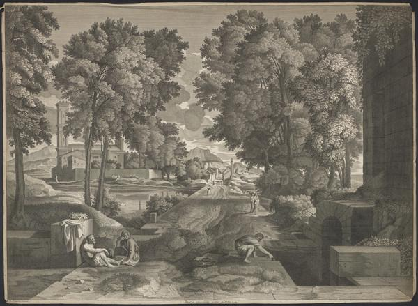 Ruris Eiusdem Pars Altera - landscape with large road running through the middle; seated couple on the left, crouched man filling just on the right