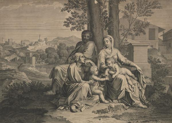 Holy Family resting, with St Elizabeth and the infant Baptist (1655-1677)