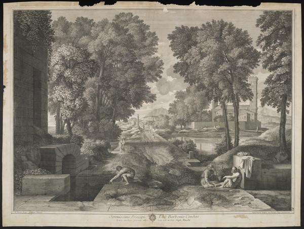 Landscape with large road running through the middle; seated couple on the right, crouched man filling just on the left (1684)