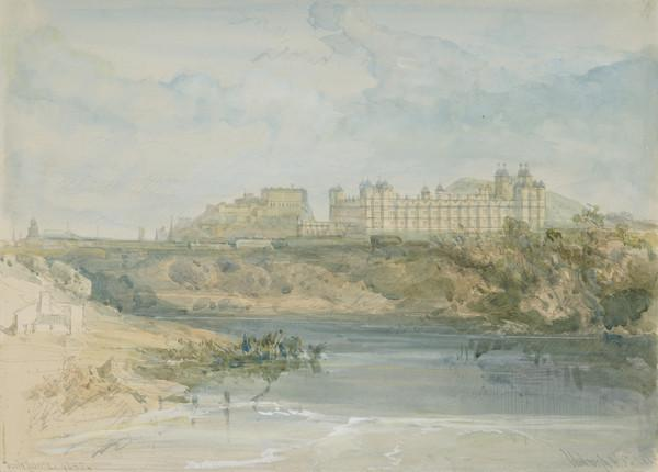 View of Donaldson's Hospital, Edinburgh from the Water of Leith (Dated 1845)
