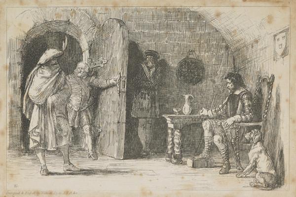 A Book Illustration depicting a Traveller entering a Room