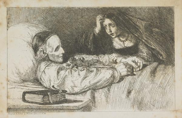 A Book Illustration depicting a Man on his Deathbed