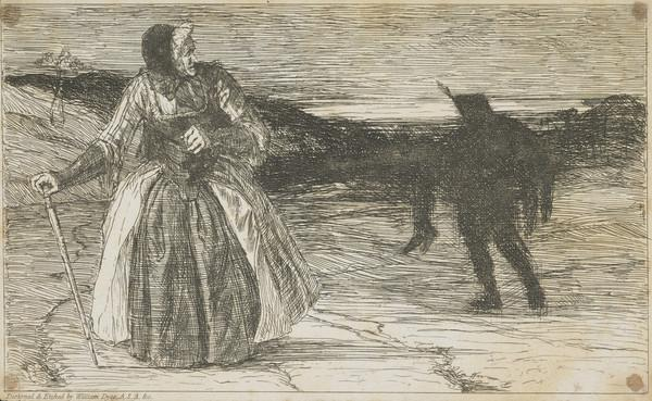 A Book Illustration depicting an Old Woman and an Apparition