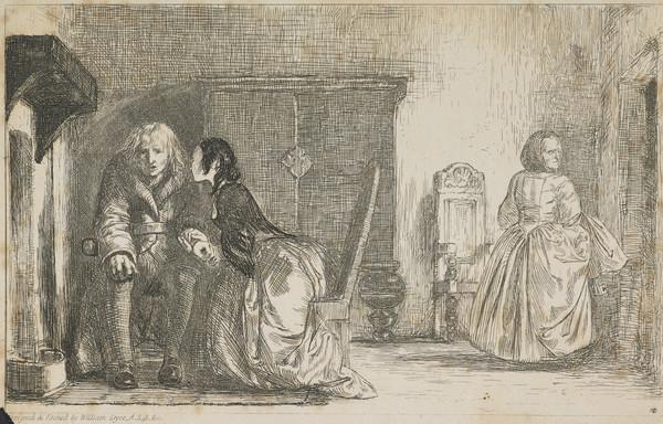 A Book Illustration depicting an Old Man beside a Fire with a Young Woman