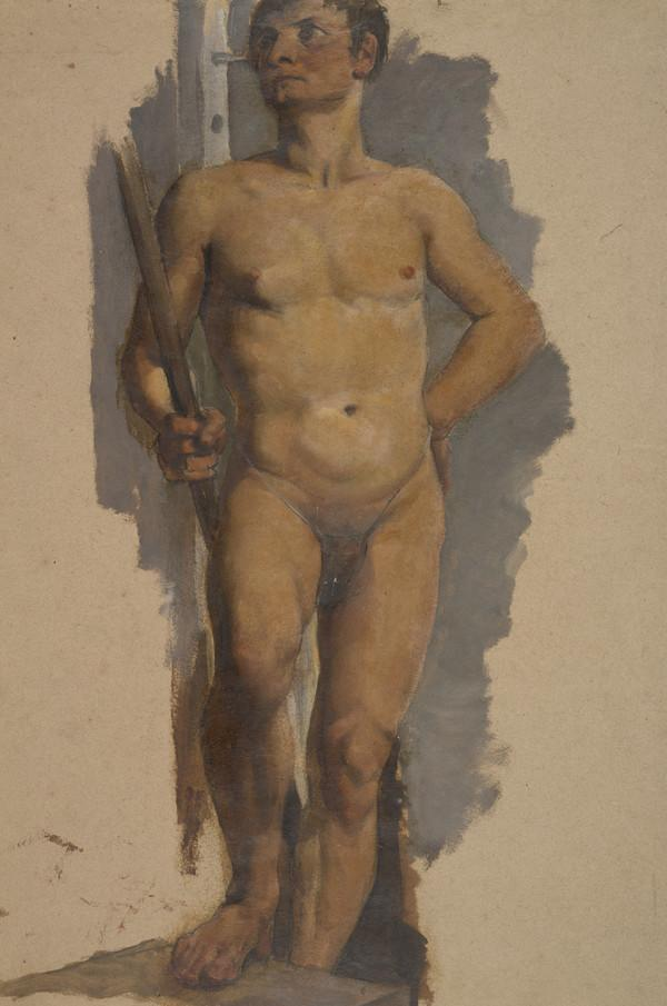 Life Drawing of a Male Nude holding a Staff, with Right Foot Resting on a Plinth (About 1829)