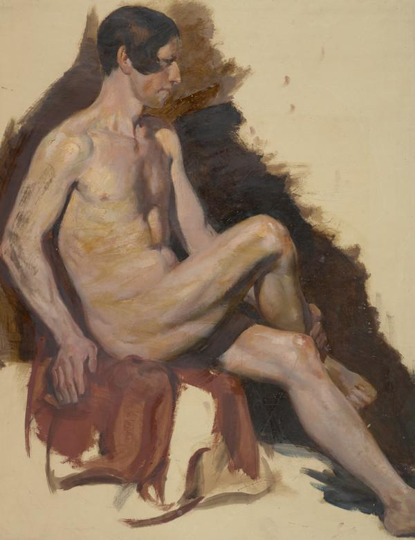 Life Drawing of a Male Nude Seated with Right Leg Crossed over Left Kneee (About 1829)